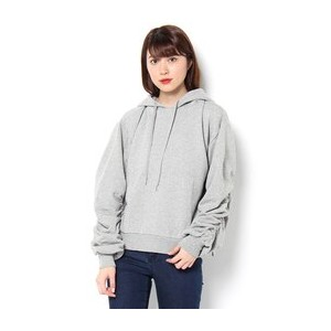 ARMY SLEEVE HOODIE【マウジー/MOUSSY レディス パーカー T.GRY ルミネ LUMINE】