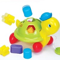 Funtime Turtle Shape Sorter Pull Along Learn and Playベビーおもちゃ12+ヶ月