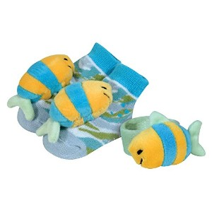 Stephan Baby Go Fish Wrist Rattle and Rattle Socks Gift Set, Blue Fish by Stephan Baby