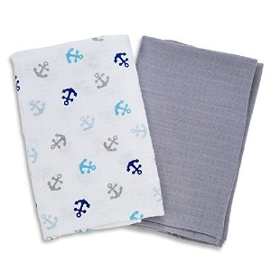 SwaddleMe Muslin Swaddle Blankets, Anchors by SwaddleMe