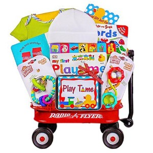 Baby Gift Basket in Mini Radio Flyer Wagon   Great First Christmas, Easter or Valentines Gift for...