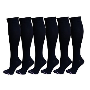 6 Pairs Pack Women Dr Motion Graduated Compression Knee High Socks (Black) by Dr. Motion