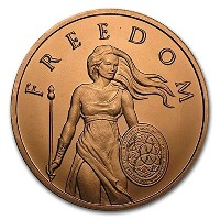 Standing自由1 oz .999 Pure Copper Challenge Coin