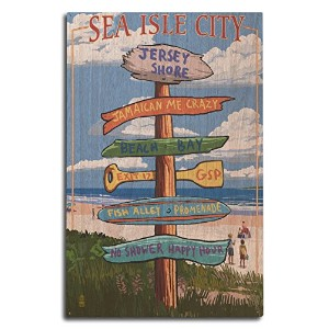 Sea Isle City、新しいジャージー – Destination Sign 10 x 15 Wood Sign LANT-46182-10x15W