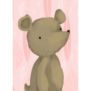 Oopsy daisy Barrington The Bear, Pink Stretched Canvas Wall Art by Meghann O'Hara, 10 by 14-Inch by...