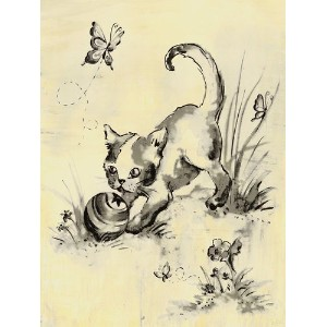 Oopsy Daisy Toile Kitty Cream and Black Stretched Canvas Wall Art by Heather Gentile-collins, 18 by...