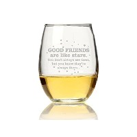 "Chloe and Madison "" Good Friends Are Like Stars "" Stemlessワインガラス、4のセット"