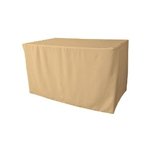 LA Linen Polyester Poplin Fitted tablecloth for 4-Foot Table, Khaki by LA Linen