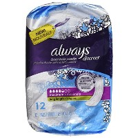 Always Discreet Bladder Protection, Maximum, Long Length, 12 Pads by Always