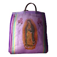 Virgin of Guadalupe Mexican Mesh Market Bag (Purple) by Sanyorl