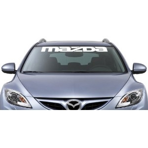 Mazda Windshield Vinyl Banner Wall Decal 36 x 3 With Free Bumper Sticker by Clown Lizard