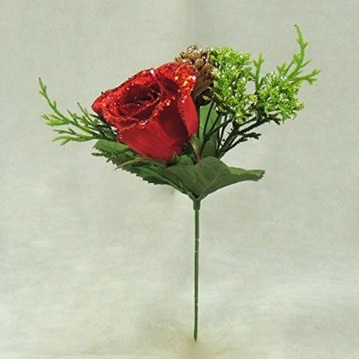 Group of 6 Elegant Winters Day Red Rose Stems for Winter Weddings, Parties, and Decorating