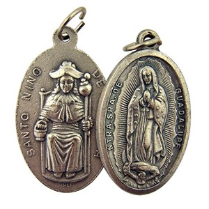 Silver TonedベースOur Lady of Guadalupe Santo Nino de Atocha Two Sidedメダルペンダント、13/ 8インチ