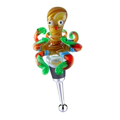 Zees Inc Pocket Bottles 14123 Handmade Glass Wine Bottle Stopper, Multicolor