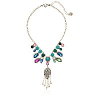 "Betsey Johnson MysticバロックQueens multi-stone Frontal Hamsa Necklace , 16 "" + 4 "" Extender"
