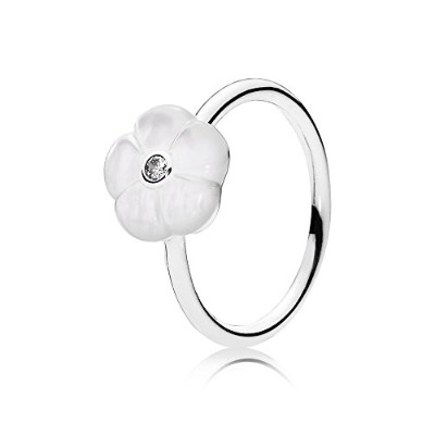 PANDORA Rings パンドラリング明るい花女性の結婚式の誕生日プレゼント-Luminous Florals Ring, Mother-Of-Pearl & Clear CZ...