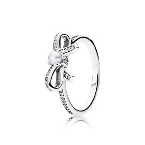 PANDORA Rings パンドラリングデリケートなセンチメントリング女性永遠の記念日結婚記念日-Delicate Sentiments Ring, White Pearl & Clear CZ