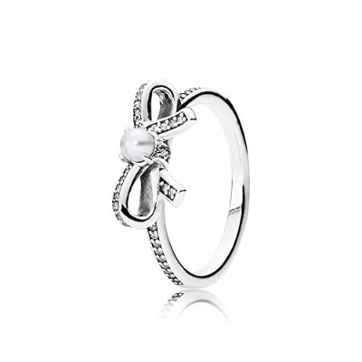 PANDORA Rings パンドラリングデリケートなセンチメントリング女性永遠の記念日結婚記念日-Delicate Sentiments Ring, White Pearl & Clear CZ...