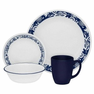 コレール ディナーセット 4人用 16点セット ブルー 花柄Corelle 16-Piece Vitrelle Glass True Blue Chip and Break Ressiatant...