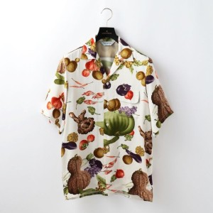 SALE【GUILD PRIME ギルドプライム】 【NIPOALOHA】MENS SHORT SLEEVE ALOHA SHIRT VEGETABLES AND FRUITS ホワイト メンズ