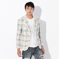 SALE【GUILD PRIME ギルドプライム】 ◇◇【Education from Youngmachines】MENS シャギーチェックパイピングジャケット ホワイト メンズ
