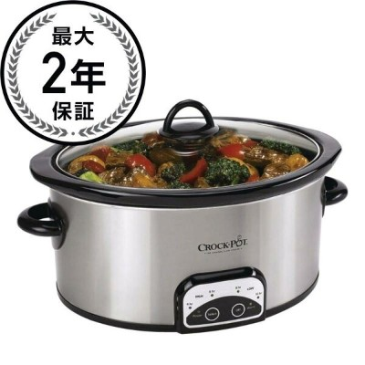 クロックポット スロークッカー Crock-Pot SCCPVP600-S 6-Quart Smart-Pot Oval Slow Cooker, Stainless Steel