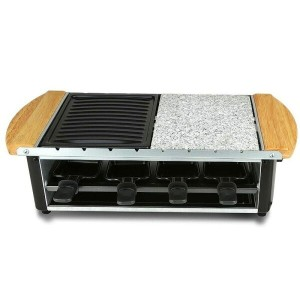 ラクレットグリル 8人用 鉄板×ストーンプレート NutriChef Raclette Grill, Two-Tier Party Cooktop, Stone Plate & Metal...