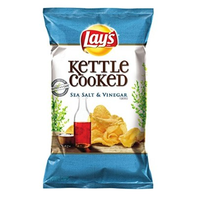 Lay's Kettle Cooked Salt & Vinegar Flavored Potato Chips - 8oz [並行輸入品]