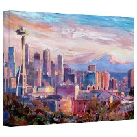 アート壁' Seattle Skyline with Space Needle 'ギャラリーWrappedキャンバスアートワークby Markus Bleichner 12 by 18-Inch...