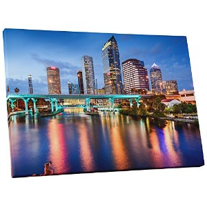 "Pingo World sky1033 – 30-parent "" Tampa downtown night skyline ""ギャラリーWrappedキャンバス壁アートプリント 20"" x 16""..."