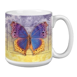 Tree-Free Greetings Extra Large 20-Ounce Ceramic Coffee Mug, Butterfly #3 Themed Vibrant Art ...