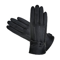 Zhhlinyuan 良質 冬 防風 Waterproof Warm Full Finger Gloves Classic Mens PU Leather Cycling Touchscreen...