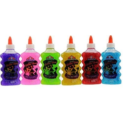 (6) - Elmer's Washable Glitter Glue, 180ml Bottles, 6-Pack, Green/Pink/Purple/Red/Yellow/Blue by...