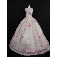 バービー 着せ替え用ドレス/服 P17 (White and Pink Dress with Purple Accents on the Bodice Made to Fit Barbie Doll)