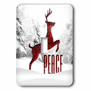 3drose LSP _ 240140_ 1レッドFauxメタリックLeaping Reindeer Winter Scene with Peace Single切り替えスイッチ