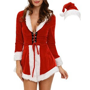 Zhhlinyuan ファッション Funny Design Straps Long Sleeve Velvet Skirt Stage Dress Santa Claus Hat...