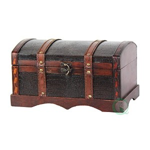 Vintiquewise ( TM )レザーWooden Chest /トランクby Vintiquewise