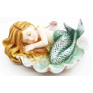 Under The Sea Baby Mermaid Sleeping On Oyster Shell Enchansia Figurine Sculpture by Atlantic