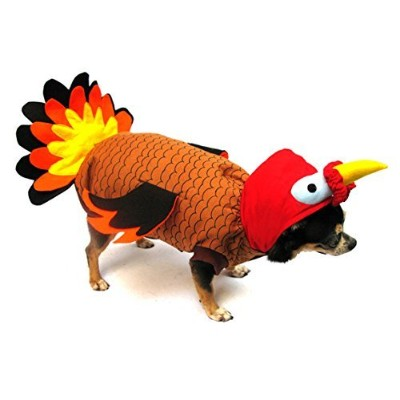 Turkey Costume for Dogs - Size 1 (8 l x 10.5 x 12 g) by Puppe Love