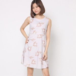 【SALE 74%OFF】ルーミィーズ Roomy's OUTLET ウエストリボン花柄ワンピース (ピンク)