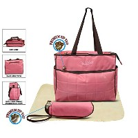 Official Todd Baby Quilted 3 Pc Pink Diaper Nappy Changing Shoulder Bag Bottle Holder Set New by...