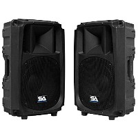 Seismic Audio L_Wave-12-Pair Pair of Powered 2-Way 12-Inch PA/DJ Molded Speaker Cabinets [並行輸入品]