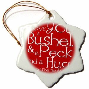 3dローズEvaDane–引用–I Love You aブッシェルand a Peck。レッド。–Ornaments 3-Inch レッド orn_193475_1
