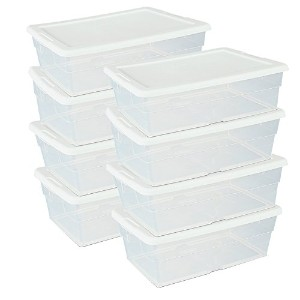 (Set of 8) 6-Quart Stackable Storage Containers - Perfect Shoe Storage System by TrueCraftware