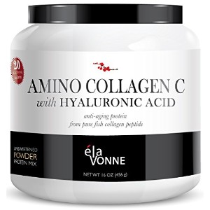 Elavonne Amino Collagen C with Hyaluronic Acid Fish Collagen Peptide Powder, 16 oz by Elavonne...