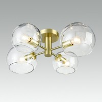 danxu照明Contemporary Golden Brushed Finishedガラス4-lights天井ライト