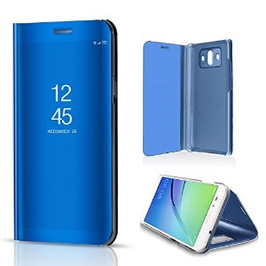 Huawei P10 Plus Shell, Translucent Window View Flip Wallet Stand Cover, Shiny Plating Make Up...