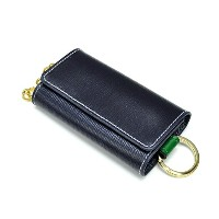 Whitehouse Cox / ホワイトハウスコックス 【Holiday Line】 S-9692 Key Case With Ring Navy Regent×Kelly