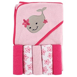 Luvable Friends Hooded Towel and 5 Washcloths, Whale by Luvable Friends