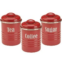 レッド台風セット3缶の紅茶、コーヒー、砂糖 Typhoon Set of 3 Canisters Tea, Coffee and Sugar in Red